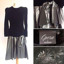 Vintage 80s Opera By Richards Black Silver Evening Dress Size 10 Glamour Velvet