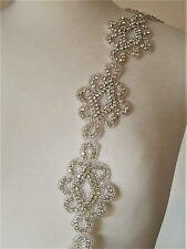 Clear Rhinestone Wedding Bridal Dress Applique Trim Craft = DIY! = 18 INCH LONG