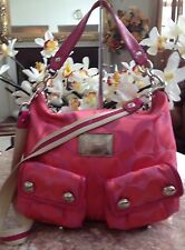 Auth. Coach Poppy Pink Melon Sateen Signature Hobo Shoulder bag Purse 14570 EUC