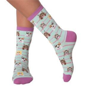 Cat Stripes K Bell Women's Crew Socks New Colorful Novelty Purr-fect Fashion