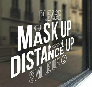 Shop Window Mask Signage Social Distance Sign Vinyl Decal Sticker