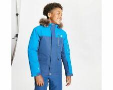 Dare 2B Boys Furtive Waterproof Fur Trimmed Hooded Ski Jacket - Blue Denim