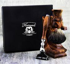 Classic Pure Wood 3 Piece Men's Shaving Set Badger Hair & 3 Edge Safety Razor