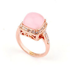 ITALINA 18K ROSE GOLD PLATED GENUINE CLEAR AUSTRIAN CRYSTAL & PINK CAT-EYE RING
