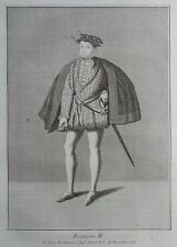 Gravure Etching Portrait FRANCOIS II Roi de France