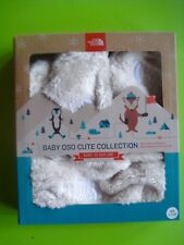 NORTH FACE BABY OSO HAT AND MITTENS SOFT POLAR FLEECE CREAM XS (6-24 MONTHS)NEW