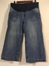 Motherhood Maternity Jeans Small Medium Wash Blue Pull On Crop Capri Denim