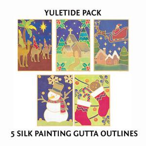 Silkcraft Silk Painting Printed Gutta Outlines - Pack of 5 (10x15cm) Yuletide