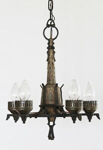 Antique Metal Faux Wood French Farmhouse Wrought Iron Chandelier