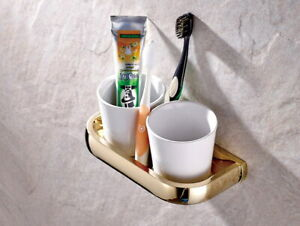 Gold Color Brass Double Toothbrush Holder Tumbler with 2 Ceramic Cups Bathroom