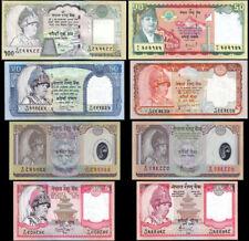 NEPAL KING GYANENDRA Rs 5 (2),10 (2 Polymer) 20, 50(2pc)  & 100 SET OF 8 UNC