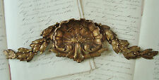 SUPERB ANTIQUE FRENCH PEDIMENT FURNITURE MOUNT BRONZE ROCOCO SHELL BERRIES LEAF