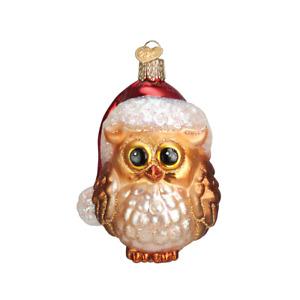 Old World Christmas SANTA OWL (16098)N Glass Ornament w/OWC Box