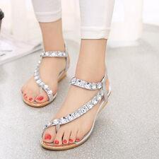 Womens Flats Sandals Toe Post Ankle Strap Comfot Flower Bead Summer Beach Shoes