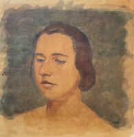 Portrait Young Woman M. K. Or M. R. Monogram 24 X 21,8 CM
