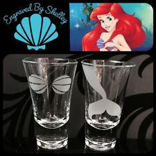 Personalised Pair Of The Little Mermaid Shot Glasses Handmade Gift For Her Ariel