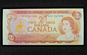 1974 $2 Bank of Canada Banknote ABX1261988 Replacement Note Crow Bouey GEM UNC