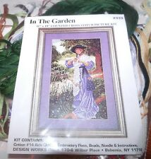 "Design Works Lady IN THE GARDEN Counted Cross Stitch Kit 11"" x 19"" w Beads"