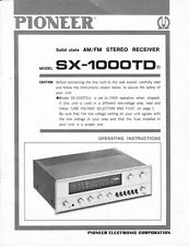 Pioneer SX-1000-TD Receiver Owners Manual