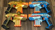 (4) NERF Phoenix LTX Lazer Tag Guns Blasters - Gold Blue - Tested/Works