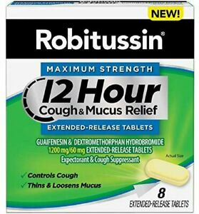 Robitussin Maximum Strength 12 Hr Cough & Mucus Relief Tablets   8 Ct   5 Pack