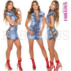 New Sexy Hot Camo Jeans Denim Stretch Mini Dress Camouflage Size 6 8 10 XS S M