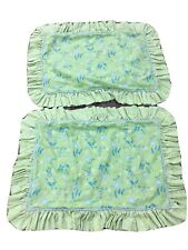 (2) Custom-Daisy/Floral Print Shams-Standard/Queen-Green/Blue/Yellow-Ruffled-