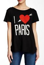 NWT New With Tags WILDFOX COUTURE I Love Paris Tee Top T-Shirt Small S Black