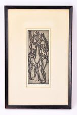 """""""The Combat"""" Robert Browning Reed Abstracted Woodcut Print Indiana artist"""