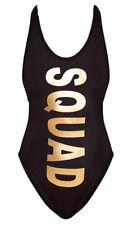 BRIDE SQUAD Print Gold Letter One Piece Bodysuit Swimsuit Beachwear Swimwear