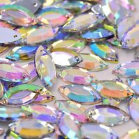 50 x AB Clear Sew on Acrylic Tear Drop Diamante Crystal Gems Rhinestone 7x15mm