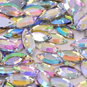 100 x AB Clear Sew on horse eye Diamante Crystal Gems Rhinestone 7x15mm #2
