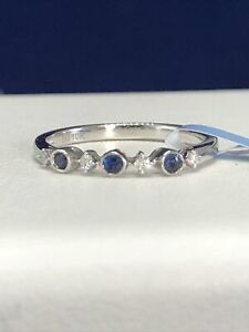 10k White Gold Sapphire & Diamond Accent Ring Size 7 MSRP $750.00 (1.53g)