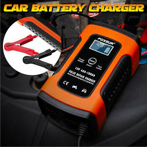 12V Smart Automatic Car Battery Charger Pulse Repair LCD Motorcycle Jump Starter