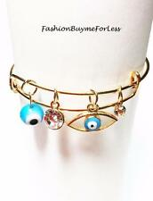 Boho Bohemian Gold Blue Hamsa Evil Eye CZ Crystal Charm Lucky Bangle Bracelet