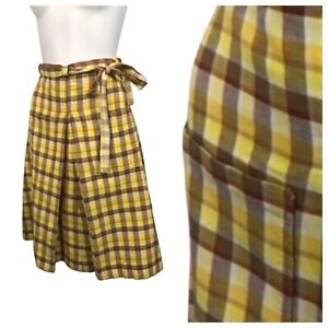 1970s Plaid Wrap Skirt / Yellow Cotton A Line Tie Skirt with Pockets S/M