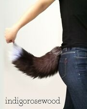 Kitty Cat Silver Fox Faux Fur Furry Cosplay Tail Costume Kawaii Black White Grey