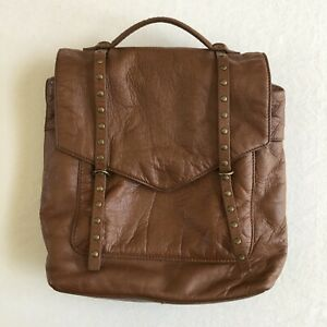 LUCKY BRAND Leather VAMP Studded Brown BACKPACK BAG Tote
