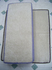 12x STAIR PADS & MAT, ivory cream colour pile with pastel colour bindings  #1416