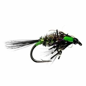 Diawl Bach UV Black/Green Unweighted Nymph - Size 12 - Trout Fly Fishing