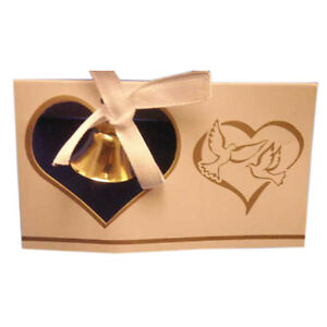 10 Wedding Place cards gold bell and hearts w/ doves