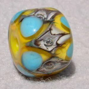 DRUMROLL #4 Handmade Art Glass Focal Bead Flaming Fools Lampwork Art Glass SRA