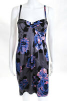 Rebecca Taylor Gray Blue Pink Silk Sleeveless Floral Print Dress Size 6