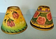 """Pair (2) Clip-on Lamp Shades Rose Tone Flower 2"""" x 5"""""""