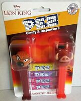 THE LION KING Pez Dispensers 2 pack  Includes 4 Rolls of Candy TIMON & PUMBA