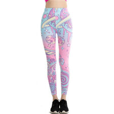 Cartoon Pink Print Leggings Kawaii Pattern Harajuku Pencil Pants Women Fitness