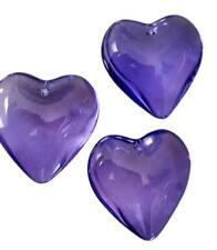 3 Smooth Violet Heart Chandelier Crystals 35mm Purple Suncatcher Wedding Decor