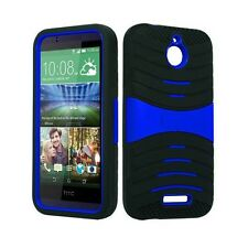 HTC Desire 510 U Case Skin BLACK  BLUE Built In Stand WITH SCREEN PROTECTOR
