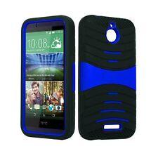 HTC Desire 510 U Case Skin BLACK  BLUE Built In Stand
