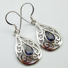 """.925 Pure Silver Real IOLITE CELTIC Earrings 1.5"""" COMBINED SHIPPING Jewelry"""